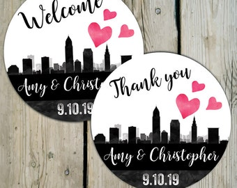 Cleveland Skyline Favor Labels, Personalized Wedding Thank You Favor Stickers, City of Cleveland Wedding Stickers Destination Wedding Labels
