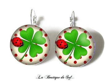 925 Sterling Silver: Stud with a 25 mm cabochon Stud Earrings * Shamrock * (200217)