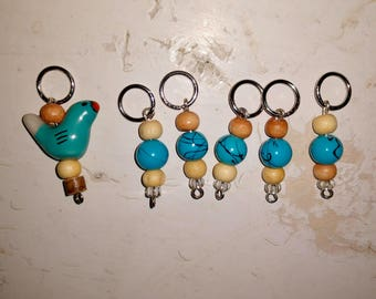 Blue Bird of Happiness stitch Markers. Knitting supplies.