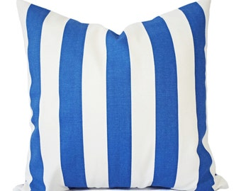 Two Striped Pillow Covers - Blue Pillow Covers - Blue Accent Pillows - Striped Pillows - Pillow Sham - Pillow Cover 16x16 18x18 20x20 22x22