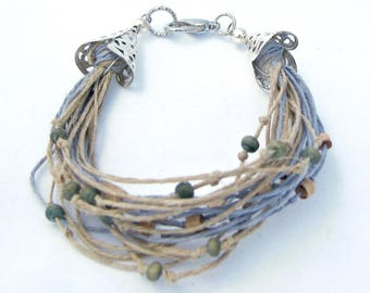 Earth Friendly Bracelet, Blue Multi Strand Bracelet, Blue Hemp Bracelet, Wood Bead Bracelet, Upcycled Bracelet, Repurposed Eco Bracelet
