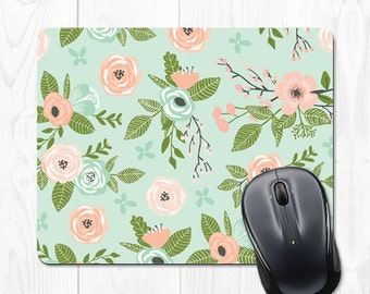 Mint Mouse Pad Gift Mint Office Supplies Floral Mousepad Floral Mousepad Office Desk Accessories Cubicle Decor Office Decor Cute Mint Green