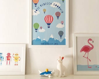 Personalised bespoke Hot air balloons art print