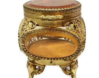 Ormolu Jewelry Casket Beveled Amber Glass