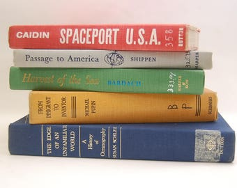 vintage PRIMARY COLORS BOOK Bundle Colorful Book Stack  mid century space ocean Library books cards entryway cottage chic space photo prop