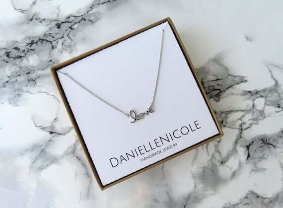 Dainty LOVE Necklace, Pendant Necklace, Dainty Jewelry, Everyday Jewelry, Simple Necklace, Gifts for Her, Mothers Day Gift, Wedding Jewelry