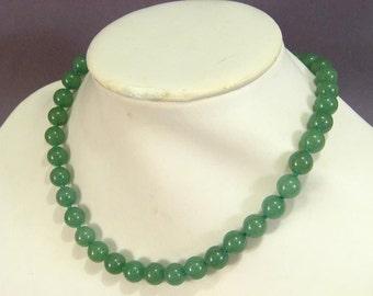 Necklace Green Aventurine 10mm Round Beads NSAN5441
