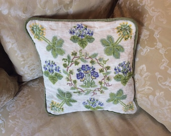 A pretty Needlepoint Cushion with beautiful violet and cowslip design.