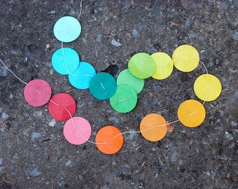 Happy paper suncatcher -  lokta paper - 3.5 ft  garland of paper circles in happy colors - orange yellow blue green red