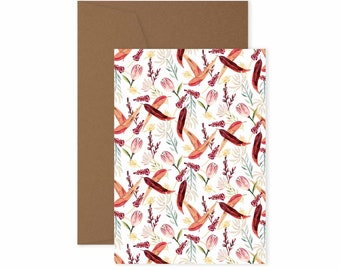 Red Leaves - Patterned greeting card