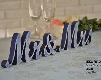 Navy Blue Mr and Mrs Wedding Signs, Mr & Mrs Wood Wedding Decoration, Navy Blue Wedding Decor
