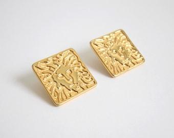 VINTAGE Earrings 1980s Anne KleinLion Gold Pierced Square