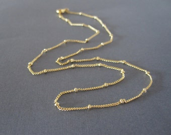 Gold Delicate Ball Chain Necklace