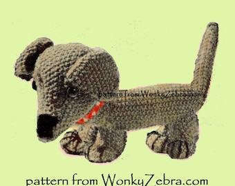 A knitted toy dachshund dog Vintage Knit Pattern PDF 520 from ToyPatternLand  and WonkyZebra