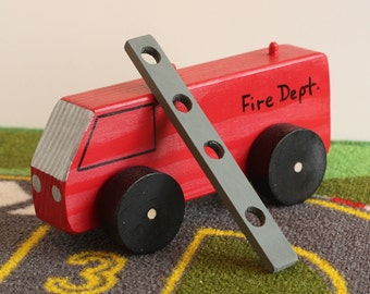 Toy Fire Truck with Ladder - Handcrafted Wooden Toy Fire Truck With Ladder - American Flag on the back of Fire Truck - Ladder included