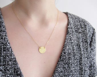 Initials necklace, personalized disc necklace, Gold disc necklace, circle necklace, dainty necklace, choose silver, gold, rose gold