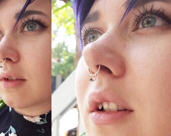Noir de zircone, Gem, anneau de nez, Septum, nez Minimal, Piercing