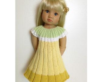 FLOWER dress Knitting Pattern 18 inch doll (059)