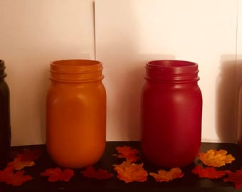 Fall Colored Mason Jar Decor