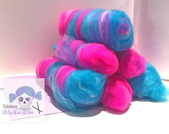 merfolk/rolags ready to spin woolen 100gms mix sock merino 75/25 colored pet Unicorn/turquoise/Pink/White sw/nylon