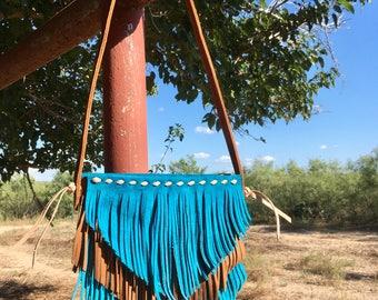 Children's Crossbody Purse Turquoise Fringe