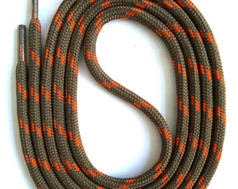 SNORS - lace - safety lace mud/Orange, 4 lengths, approx. 5 mm - round laces for work shoes, hiking boots, trekking shoes