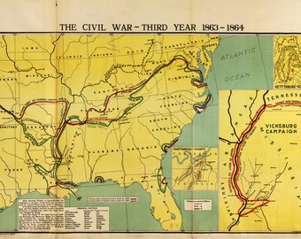 Map of Civil War, Year 3; Antique Civil War Map, 1919