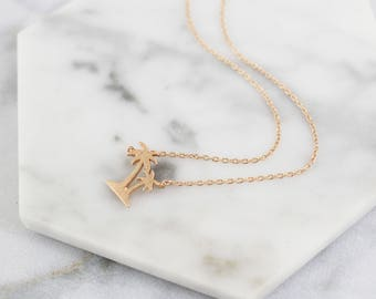 Tiny Rose Gold Palm Tree Charm Necklace, Rose Gold  Tree Necklace, Bridesmaid Gift, Birthday Gift, Minimalist Necklace - 4082