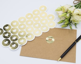 26 Medium Envelope Seals in Gold Foil - Handmade Heart Stickers - Wedding invitations & favours - Baby Shower