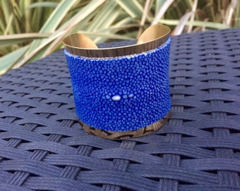 Stingray leather and brass cuff