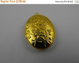 TAX Season Sale Gold Finish Filigree and Floral Detailed Oval Locket Pendant or Charm Great jewelry Supplies
