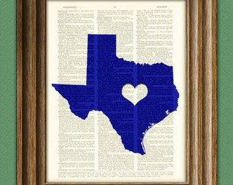 My Heart is in Texas state map awesome upcycled vintage dictionary page book art print