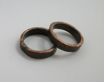 Hammered copper ring band, hand forged - copper jewelry - rustic ring - available size- 6.5, 7.5 US