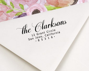 Return Address Stamp  - Self inking or Wood Handle - Script Font - The Clarksons