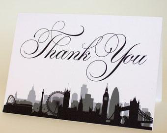 London England Thank You Card Wedding Event Skyline City Folded Sized A6 Skyline Cityscape