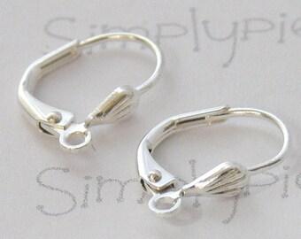 Short Silver Leverback Earring Earwire Lever Back Ear Wires 10 Pcs