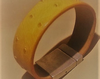 Genuine ostrich leather handcrafted bracelet