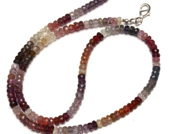 """Natural Gem Multicolor Spinel Faceted 4.5MM Rondelle Beads 16.5"""" Full Strand Israeli Machine Cut Beads Super Fine Quality Complete Necklace"""