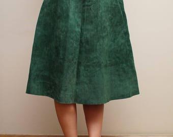 Real Leather Green Suede High Waist Skirt Eu 34/36