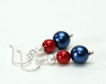 Red White and Blue Stacked Pearl Earrings - Handmade Red White and Blue Jewelry