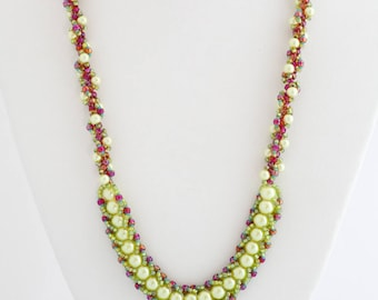 Lime Green Fiesta Necklace, Coral Red Spiral Beaded Necklace Set, Long Bib Statement Necklace, Cluster, Sante Fe, Gift for Her