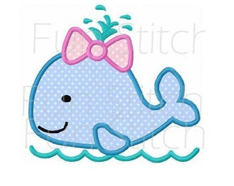Girl whale applique machine embroidery design instant download