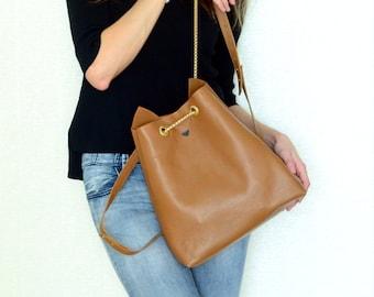 Kitty backpack / ginger red leather rucksack / cat ears bag