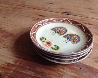 Cute turkey design vintage saucer/plates