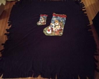 Stocking Fleece Blanket - Single Layer - Two Stockings to Tuck Doll or Stuffed Animal into