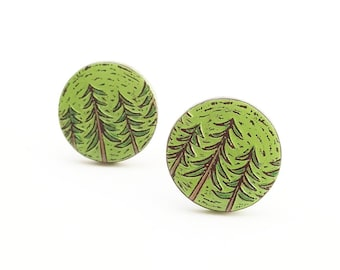Pine Tree Cufflinks, Forest Cufflinks, Woodland Cuff Links, Fathet's Day Gift, Outdoorsman Gift, Woodland Wedding, Gift for Men, Groom Gift