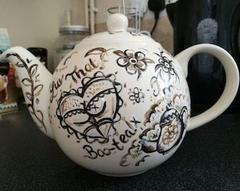 Vintage Tattoo Upcycled Teapot.