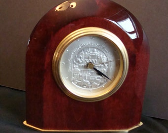 Jerusalem 3000 silver medal mantle clock/ sterling silver face on clock/ Jerusalem City of David mantel clock/ quartz mantel clock