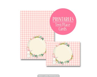 Bunny and Floral Tent Cards |  Birthday Buffet cards | Printable | Buffet Cards  1535