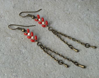 Dangle earrings, red enameled ears chain, bronze chain